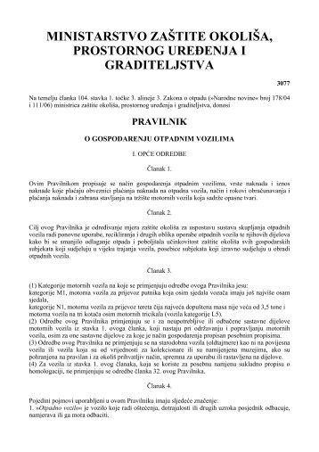 Pravilnik o gospodarenju otpadnim vozilima NN 136/06