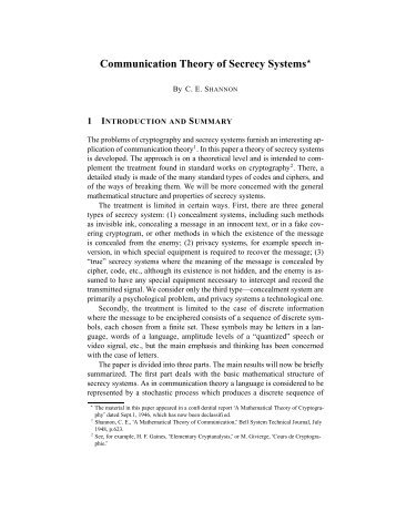 Communication Theory of Secrecy Systems - Network Research Lab