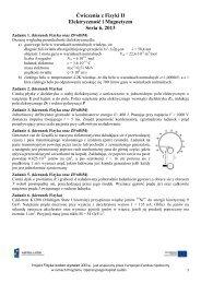 Ćwiczenia z Fizyki II Elektryczność i Magnetyzm Seria 6, 2013