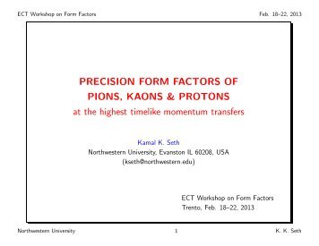 New results for the form factors of Pion, Kaon, and Proton at ... - Fisica