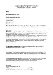 AMERICAN GRANTEE REPORT FORM PART I Fulbright Program ...