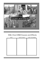 KWL Chart WWI Causes and Effects
