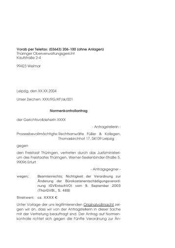 Normenkontrolle Thüringen (139 KB) - RAe Füßer und Kollegen