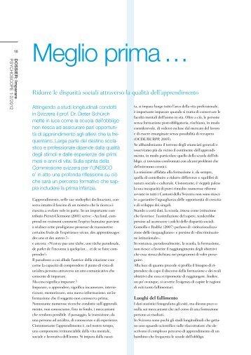 Meglio prima … - Frühkindliche Bildung in der Schweiz