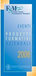 Progetti formativi aziendali, Corsi regionali, Eventi 2006