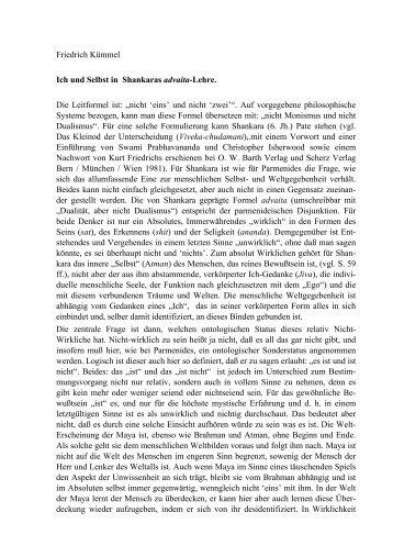 Friedrich Kümmel Ich und Selbst in Shankaras advaita-Lehre. Die ...
