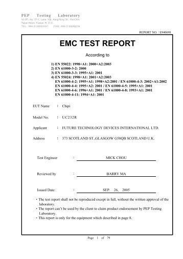 EMC TEST REPORT - FTDI