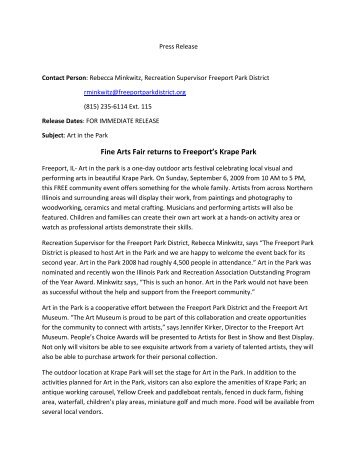 2009 Art in the Park Press Release.pdf - Freeport Park District
