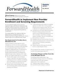 ForwardHealth Update 2012-32 - ForwardHealth to Implement New ...