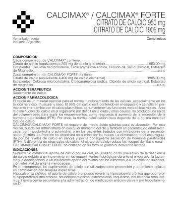 CALCIMAX FORTE prosp. 12/05 - Gador SA