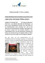 Erstligist VfB Stuttgart wirbt am Flughafen für neue Soccer Lounge