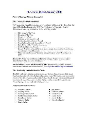 FLA News Digest January 2008 - Florida Library Association