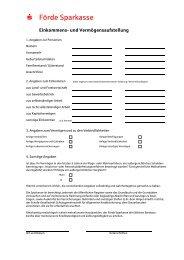 Einkommens- und Vermögensaufstellung - Förde Sparkasse