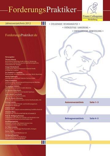ForderungsPraktiker Jahresverzeichnis 2012