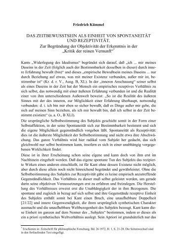 DAS ZEITBEWUSSTSEIN ALS EINHEIT VON ... - Friedrich Kümmel