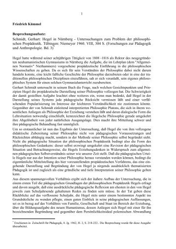 Schmidt, Gerhart: Hegel in Nürnberg ... - Friedrich Kümmel