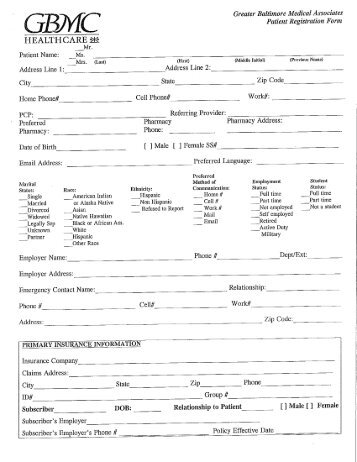 New Patient Forms - Greater Baltimore Medical Center