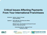 Payments from International Franchisees