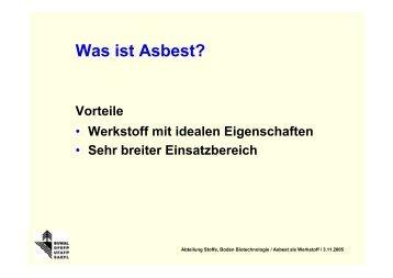 Stoffdaten - FACH - BUWAL - Forum Asbest Schweiz