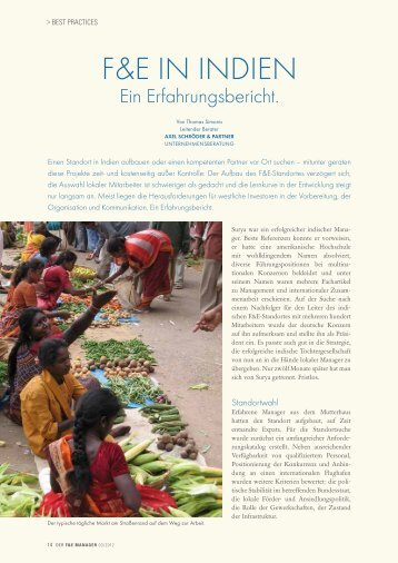 F&E IN INDIEN - der f&e manager