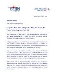 Air France & Flughafen Bern-Belp Linie nach Paris Orly