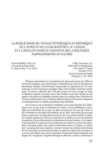 la publication du voyage pittoresque et historique de l'istrie et de la ...
