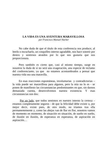 LA VIDA ES UNA AVENTURA MARAVILLOSA (Texto) - Fraternidad ...