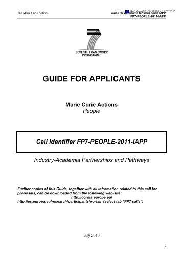 FP7-PEOPLE-2011-IAPP - FFG 7. Rahmenprogramm