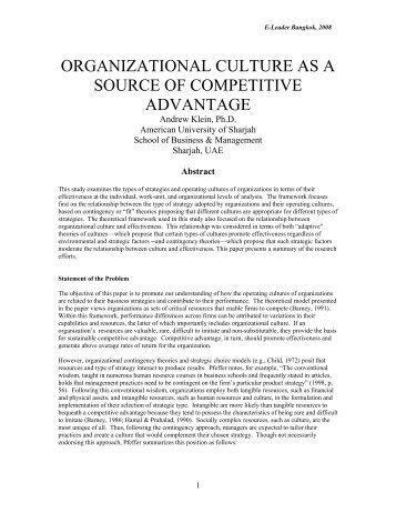 Organizational Culture as a Source of Competitive Advantage - CASA