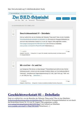 Geschichtswerkstatt 01 – Debellatio - Freiheit ist selbst bestimmtes ...