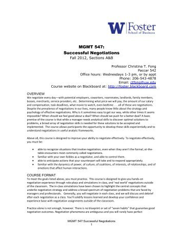 MGMT 547: Successful Negotiations - University of Washington ...