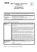 SME / Association / Researcher Profile Form FP7 Programme ... - Page 3