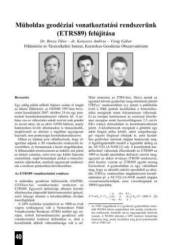 Műholdas geodéziai vonatkoztatási rendszerünk - Földmérési és ...