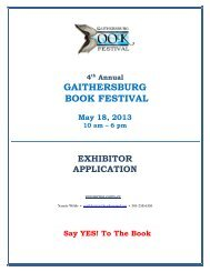 2nd ANNUAL GAITHERSBURG BOOK FESTIVAL - City of ...