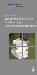 Flyer zum dualen Studium - Bilfinger Berger Industrial Services