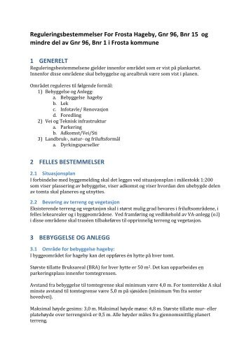 Reguleringsbestemmelser for Frosta hageby.pdf - Frosta kommune
