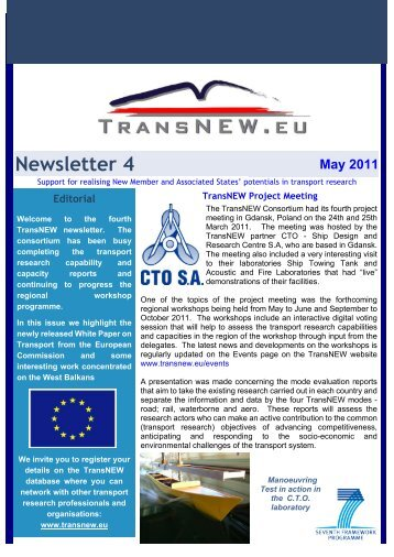TransNEW Newsletter 4 - May 2011
