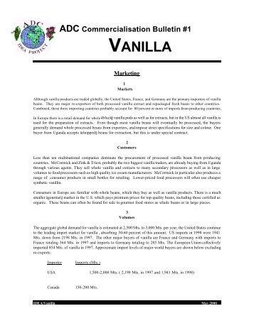 ADC Commercialisation Bulletin #1 – Vanilla - Foodnet