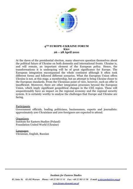 Europe-Ukraine Forum - Economic Forum