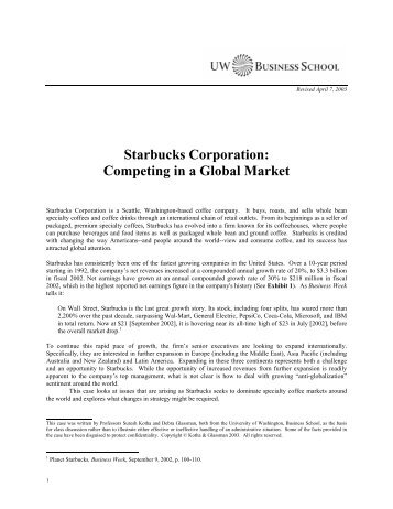 Starbucks Corporation: Competing In A Global Market - University of ...