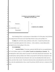 Appendix F-4: District of Nevada—Scheduling Order