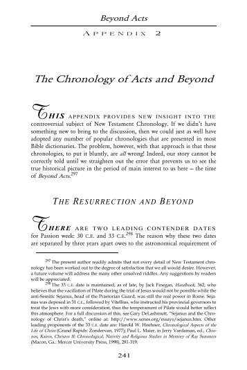 The Chronology of Acts and Beyond - Sunrise Publications