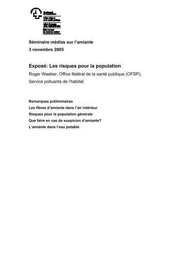 Les risques pour la population - Forum Asbest Schweiz