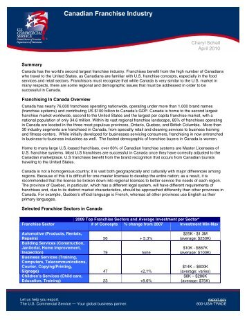 Canadian Franchise Industry - International Franchise Association