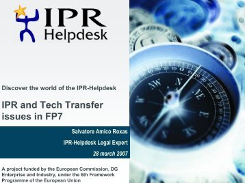 IPR and Tech Transfer issues in FP7