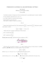 prehodne matrike za geometrijsko optiko - Fakulteta za matematiko ...