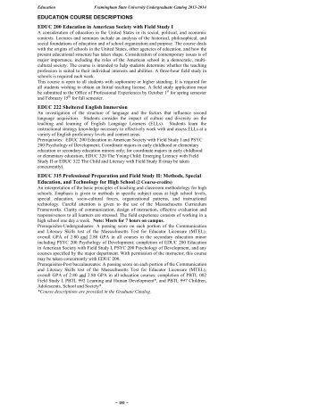 EDUCATION COURSE DESCRIPTIONS - Framingham State ...