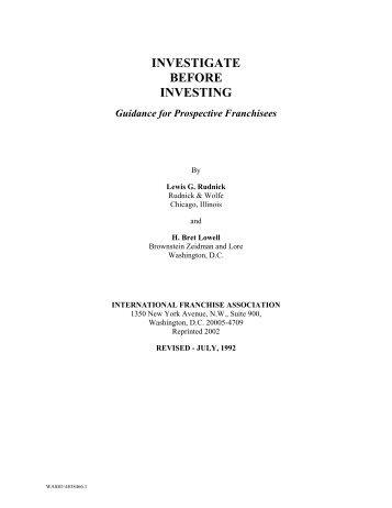 investigate before investing - International Franchise Association