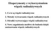 Eksperymenty z wykorzystaniem wiązek radioaktywnych