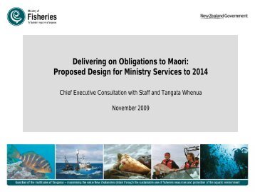 Proposed Design for Ministry Services to 2014 - Ministry of Fisheries